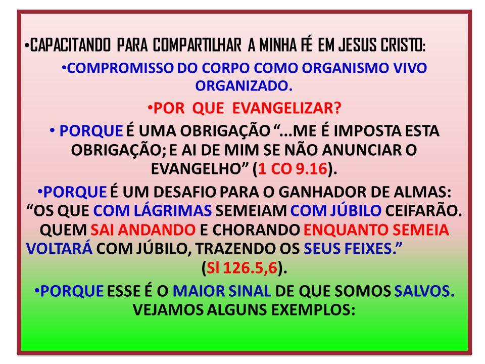 CAPACITANDO PARA COMPARTILHAR A MINHA FÉ EM JESUS CRISTO: COMPROMISSO DO CORPO COMO ORGANISMO VIVO ORGANIZADO. POR QUE EVANGELIZAR? PORQUE É UMA OBRIG