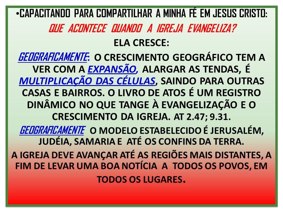 CAPACITANDO PARA COMPARTILHAR A MINHA FÉ EM JESUS CRISTO: QUE ACONTECE QUANDO A IGREJA EVANGELIZA? ELA CRESCE: GEOGRAFICAMENTE : O CRESCIMENTO GEOGRÁF