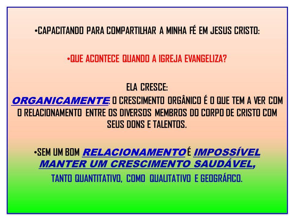 CAPACITANDO PARA COMPARTILHAR A MINHA FÉ EM JESUS CRISTO: QUE ACONTECE QUANDO A IGREJA EVANGELIZA? ELA CRESCE: ORGANICAMENTE : O CRESCIMENTO ORGÂNICO