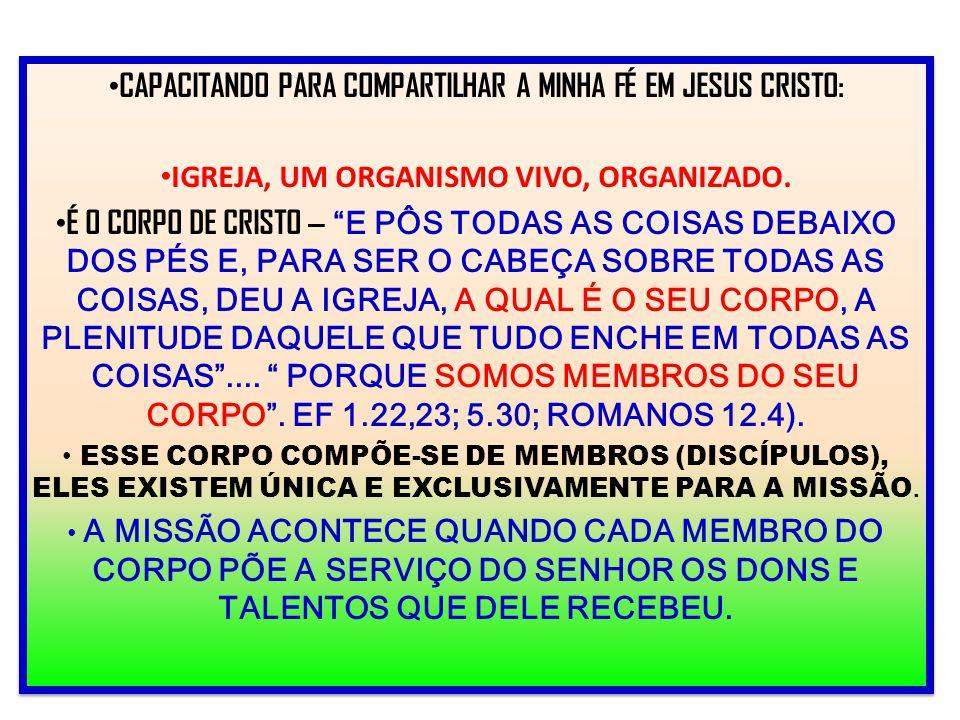 """CAPACITANDO PARA COMPARTILHAR A MINHA FÉ EM JESUS CRISTO: IGREJA, UM ORGANISMO VIVO, ORGANIZADO. É O CORPO DE CRISTO – """"E PÔS TODAS AS COISAS DEBAIXO"""