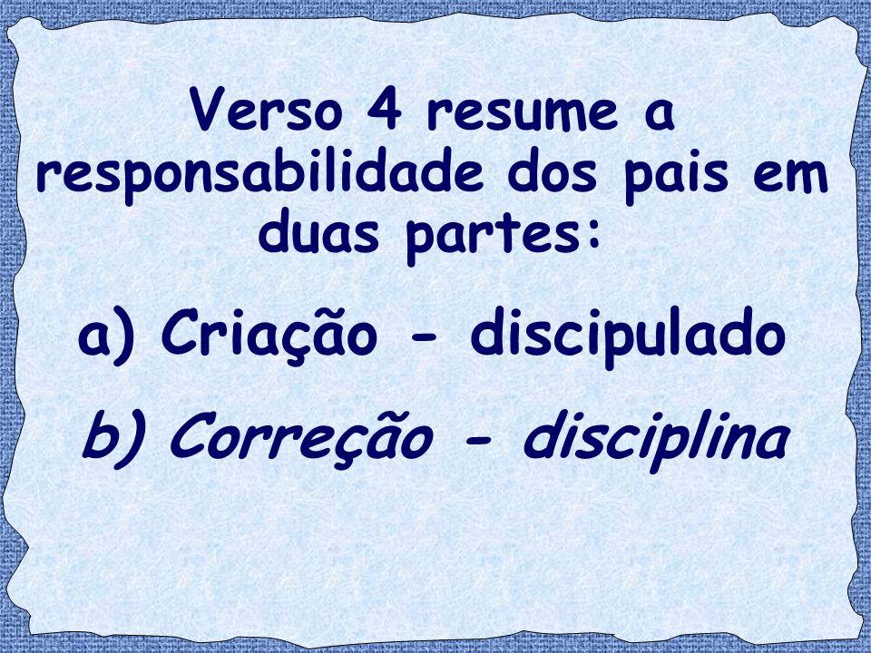 Verso 4 resume a responsabilidade dos pais em duas partes: a) Criação - discipulado b) Correção - disciplina