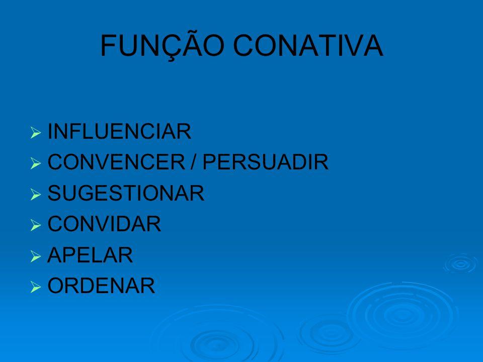   INFLUENCIAR   CONVENCER / PERSUADIR   SUGESTIONAR   CONVIDAR   APELAR   ORDENAR