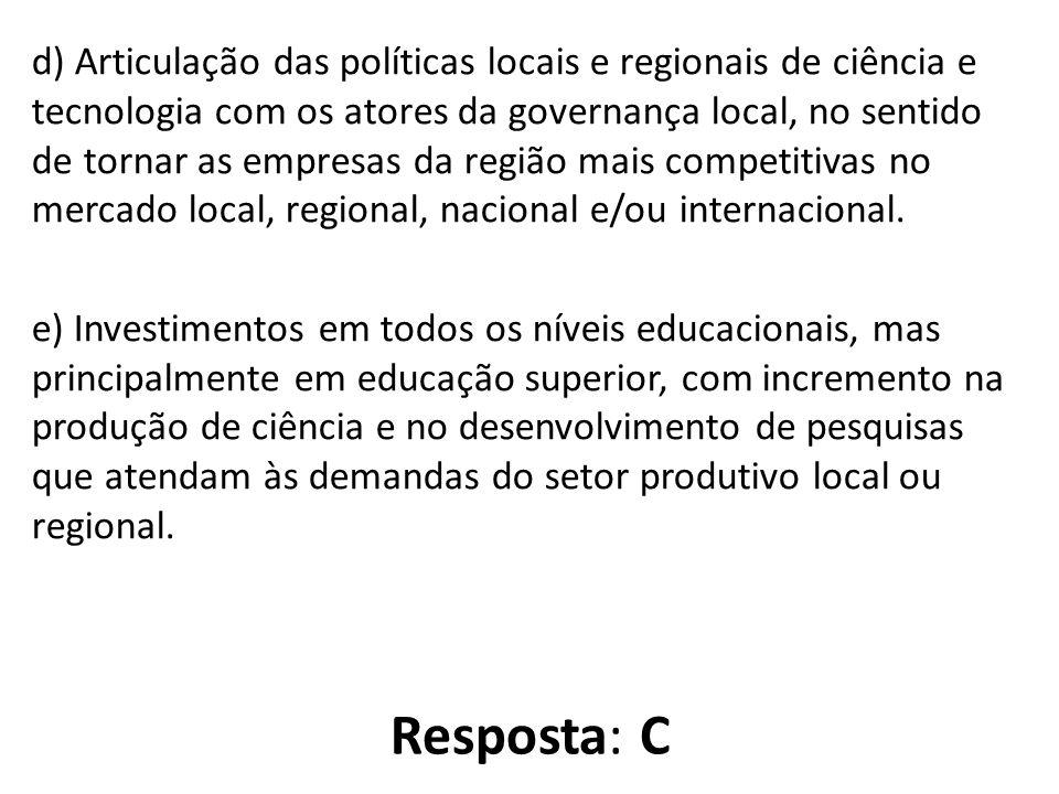 d) Articulação das políticas locais e regionais de ciência e tecnologia com os atores da governança local, no sentido de tornar as empresas da região mais competitivas no mercado local, regional, nacional e/ou internacional.