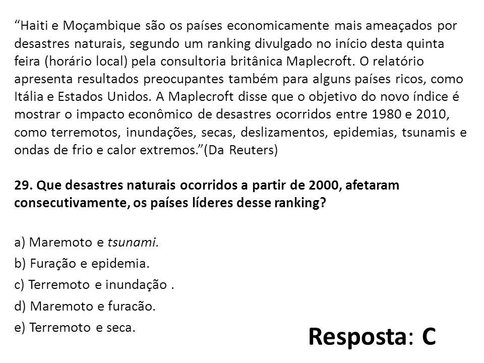 Haiti e Moçambique são os países economicamente mais ameaçados por desastres naturais, segundo um ranking divulgado no início desta quinta feira (horário local) pela consultoria britânica Maplecroft.