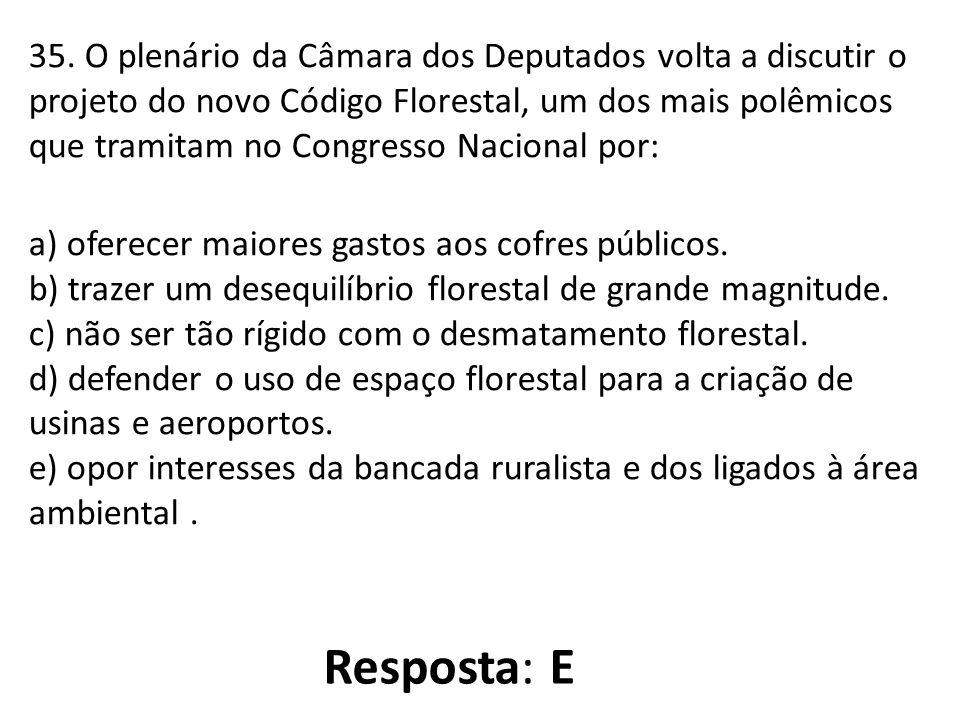 35. O plenário da Câmara dos Deputados volta a discutir o projeto do novo Código Florestal, um dos mais polêmicos que tramitam no Congresso Nacional p