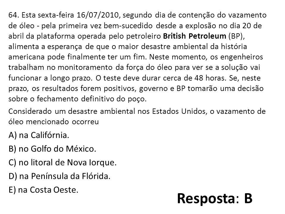 64. Esta sexta-feira 16/07/2010, segundo dia de contenção do vazamento de óleo - pela primeira vez bem-sucedido desde a explosão no dia 20 de abril da