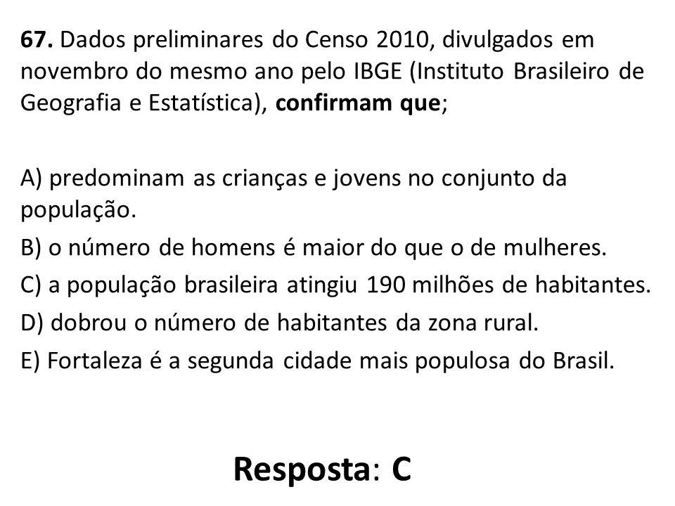 67. Dados preliminares do Censo 2010, divulgados em novembro do mesmo ano pelo IBGE (Instituto Brasileiro de Geografia e Estatística), confirmam que;