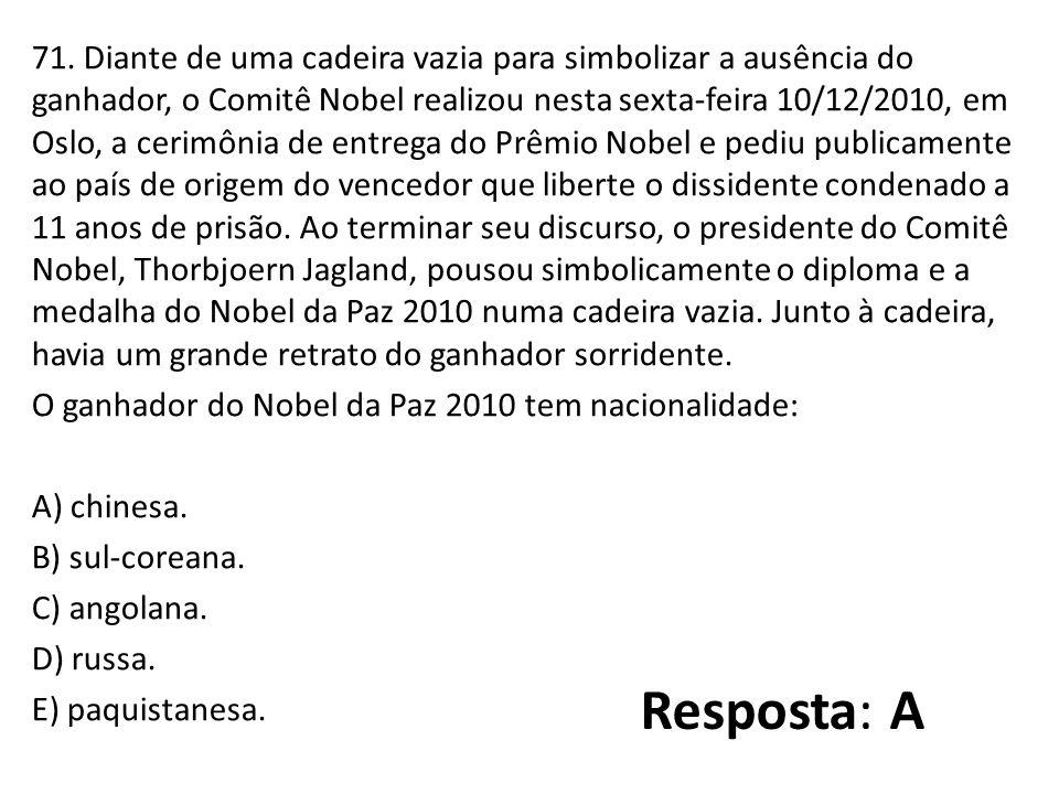 71. Diante de uma cadeira vazia para simbolizar a ausência do ganhador, o Comitê Nobel realizou nesta sexta-feira 10/12/2010, em Oslo, a cerimônia de