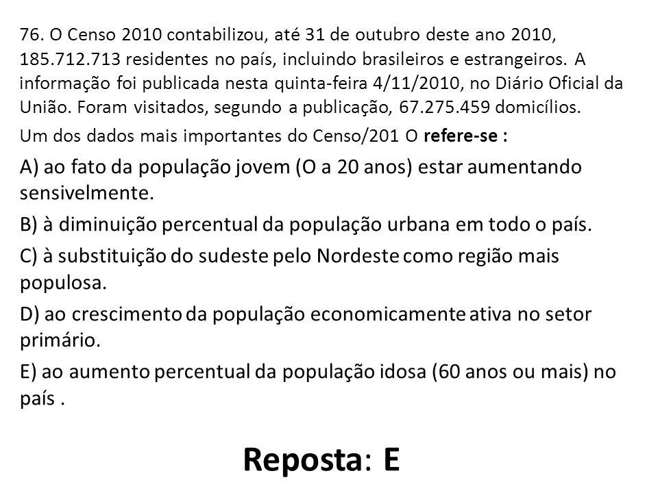 76. O Censo 2010 contabilizou, até 31 de outubro deste ano 2010, 185.712.713 residentes no país, incluindo brasileiros e estrangeiros. A informação fo
