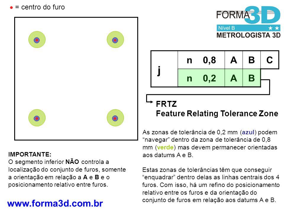 www.forma3d.com.br FRTZ Feature Relating Tolerance Zone IMPORTANTE: O segmento inferior NÃO controla a localização do conjunto de furos, somente a ori