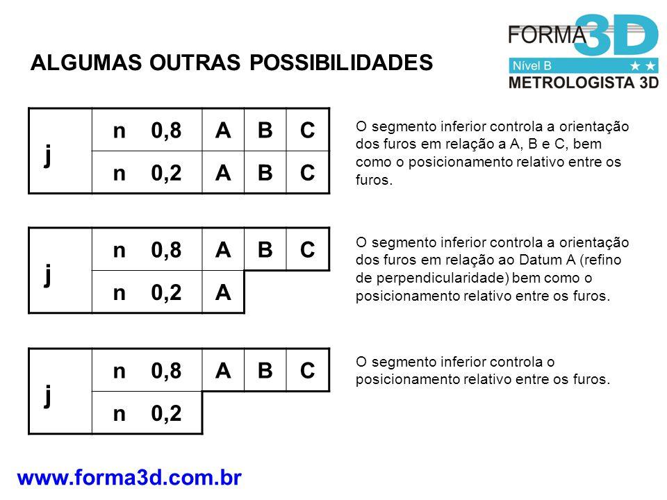 www.forma3d.com.br n 0,8ABC n 0,2ABC j O segmento inferior controla a orientação dos furos em relação a A, B e C, bem como o posicionamento relativo e