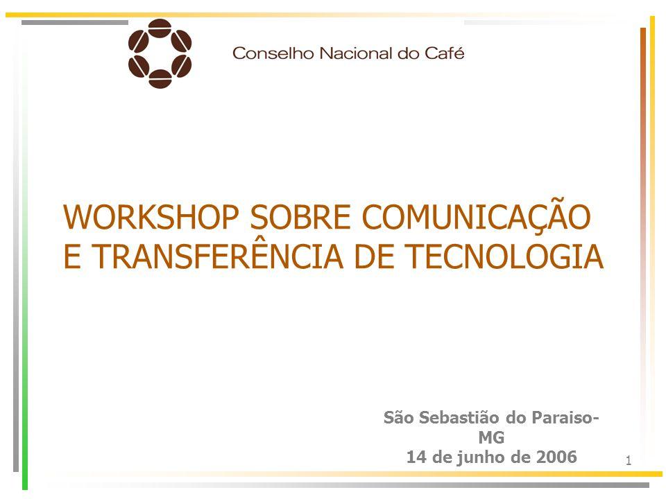 1 São Sebastião do Paraiso- MG 14 de junho de 2006 WORKSHOP SOBRE COMUNICAÇÃO E TRANSFERÊNCIA DE TECNOLOGIA