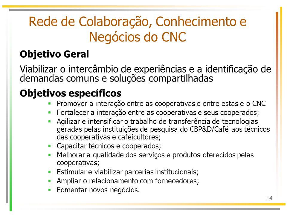 15 Rede de Colaboração, Conhecimento e Negócios do CNC Foco inicial: –Cooperativas de produtores de café, –Instituições de pesquisa que compõe o CBP&D/Café Sub-redes da Rede do CNC: –sub-rede das cooperativas –sub-rede dos pesquisadores.