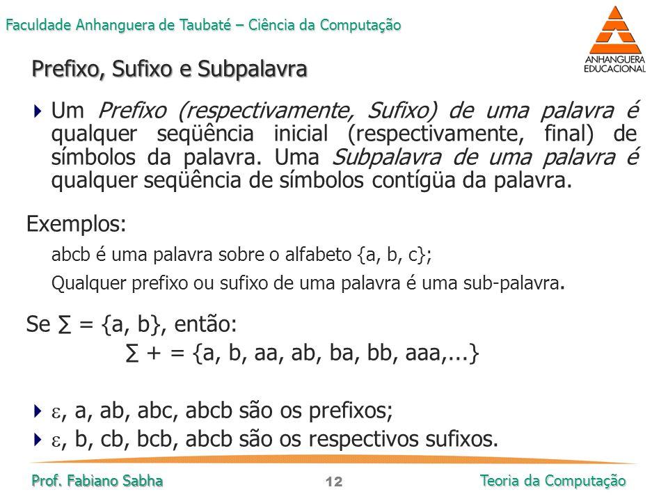 12 Faculdade Anhanguera de Taubaté – Ciência da Computação Prof. Fabiano Sabha Teoria da Computação  Um Prefixo (respectivamente, Sufixo) de uma pala