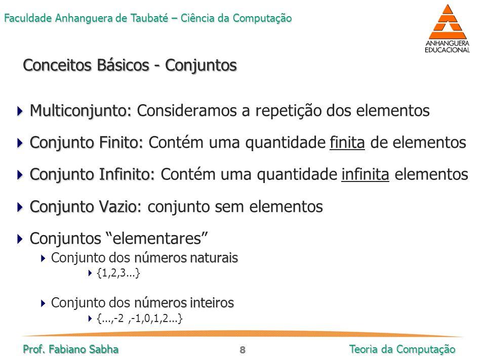 8 Faculdade Anhanguera de Taubaté – Ciência da Computação Prof. Fabiano Sabha Teoria da Computação  Multiconjunto:  Multiconjunto: Consideramos a re