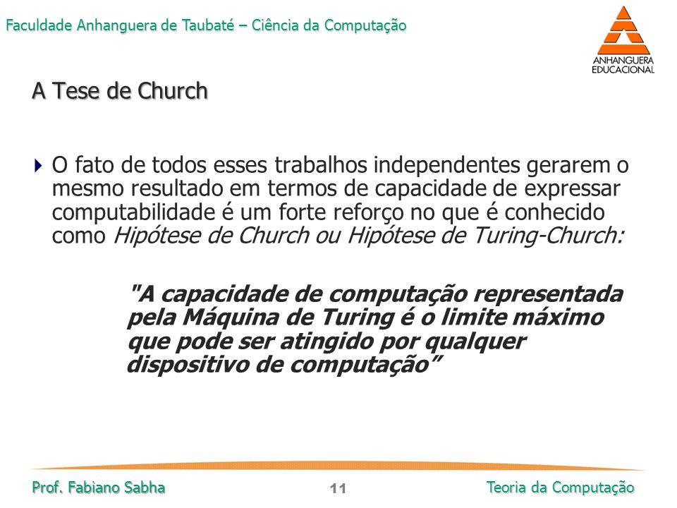 11 Faculdade Anhanguera de Taubaté – Ciência da Computação Prof. Fabiano Sabha Teoria da Computação  O fato de todos esses trabalhos independentes ge