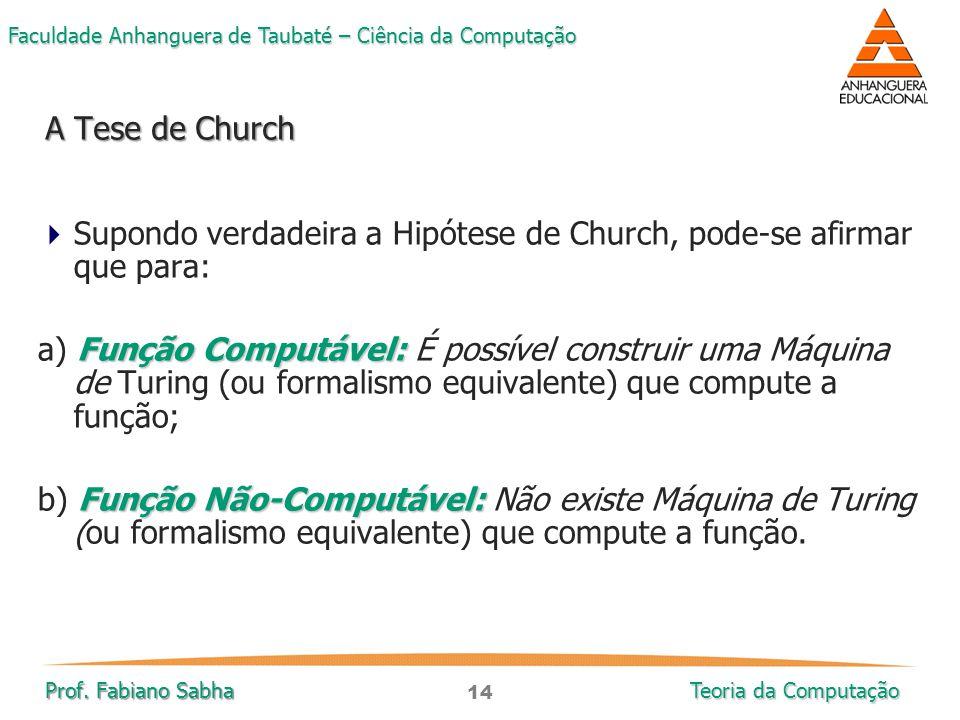 14 Faculdade Anhanguera de Taubaté – Ciência da Computação Prof. Fabiano Sabha Teoria da Computação  Supondo verdadeira a Hipótese de Church, pode-se