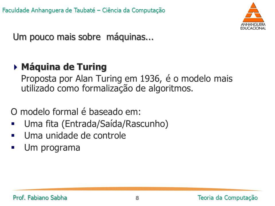 8 Faculdade Anhanguera de Taubaté – Ciência da Computação Prof. Fabiano Sabha Teoria da Computação  Máquina de Turing Proposta por Alan Turing em 193