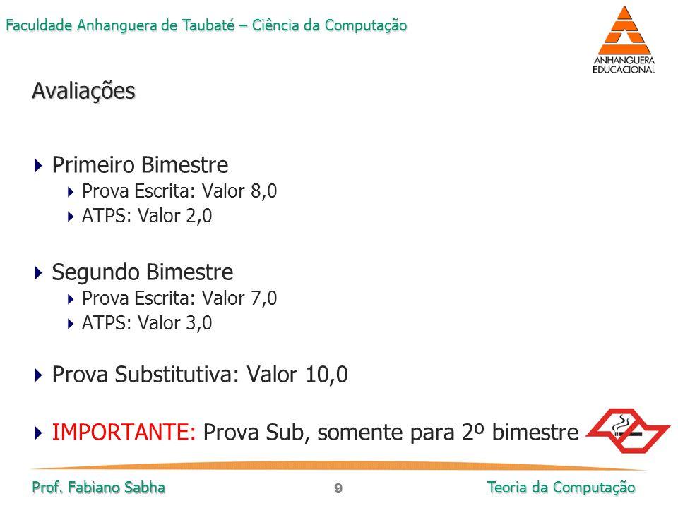 9 Faculdade Anhanguera de Taubaté – Ciência da Computação Prof. Fabiano Sabha Teoria da Computação  Primeiro Bimestre  Prova Escrita: Valor 8,0  AT
