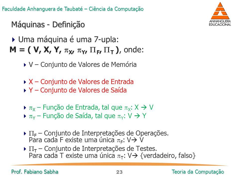 23 Faculdade Anhanguera de Taubaté – Ciência da Computação Prof. Fabiano Sabha Teoria da Computação  Uma máquina é uma 7-upla: M = ( V, X, Y,  X, 