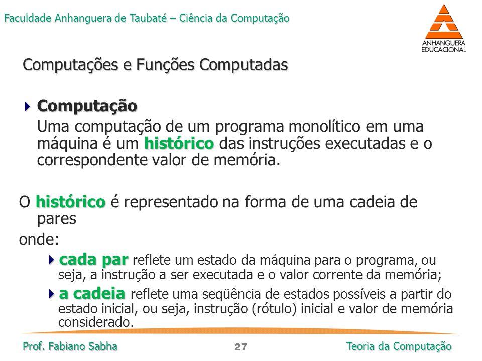 27 Faculdade Anhanguera de Taubaté – Ciência da Computação Prof. Fabiano Sabha Teoria da Computação  Computação histórico Uma computação de um progra