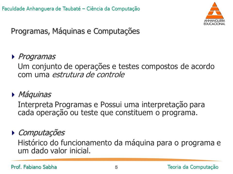 5 Faculdade Anhanguera de Taubaté – Ciência da Computação Prof. Fabiano Sabha Teoria da Computação  Programas Um conjunto de operações e testes compo