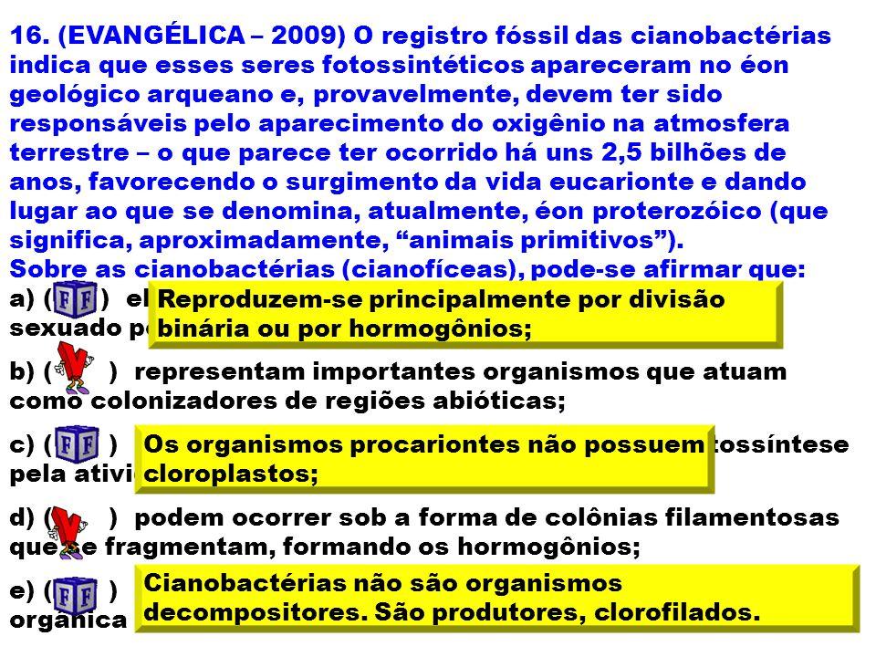 16. (EVANGÉLICA – 2009) O registro fóssil das cianobactérias indica que esses seres fotossintéticos apareceram no éon geológico arqueano e, provavelme