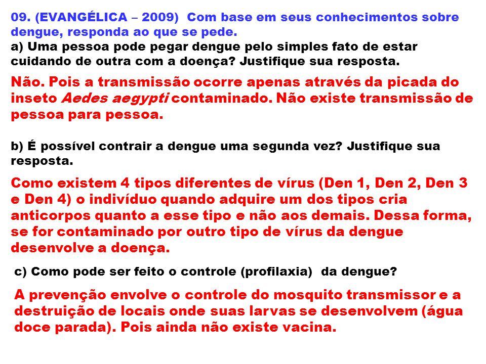 09. (EVANGÉLICA – 2009) Com base em seus conhecimentos sobre dengue, responda ao que se pede. a) Uma pessoa pode pegar dengue pelo simples fato de est