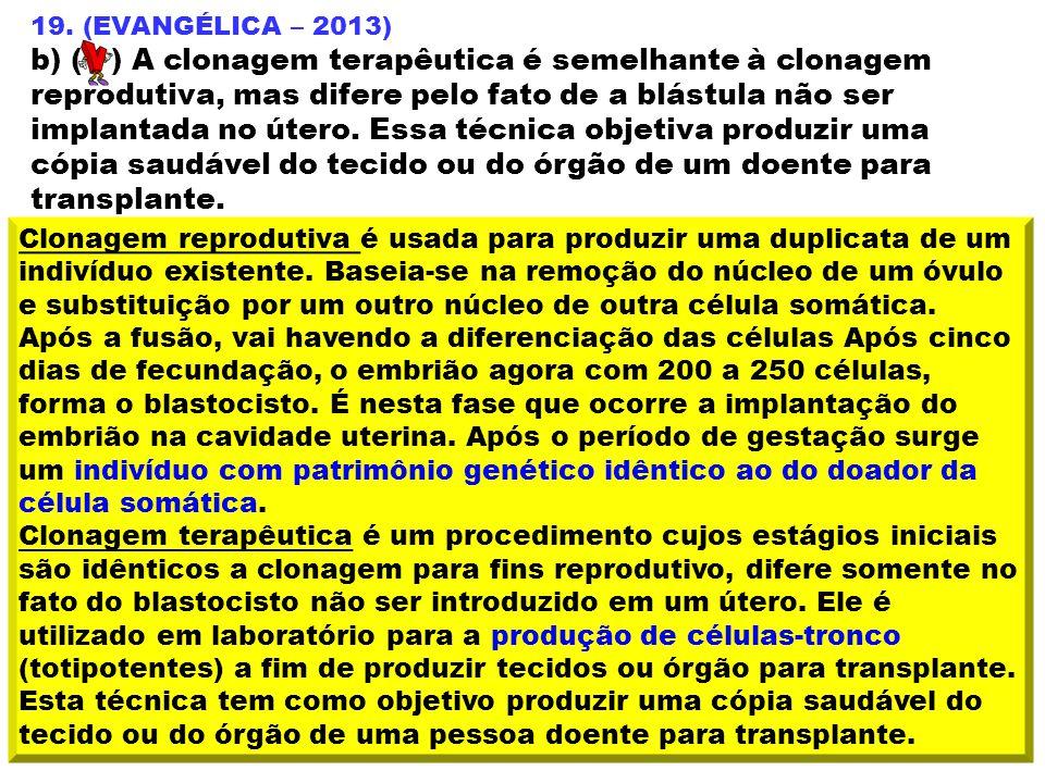19. (EVANGÉLICA – 2013) b) ( ) A clonagem terapêutica é semelhante à clonagem reprodutiva, mas difere pelo fato de a blástula não ser implantada no út