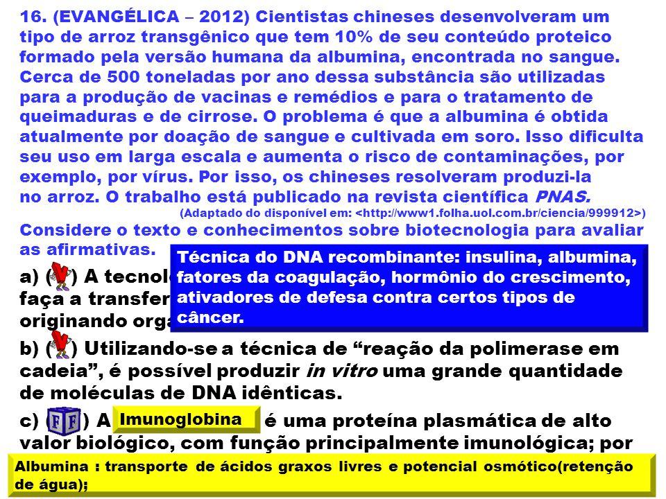 16. (EVANGÉLICA – 2012) Cientistas chineses desenvolveram um tipo de arroz transgênico que tem 10% de seu conteúdo proteico formado pela versão humana