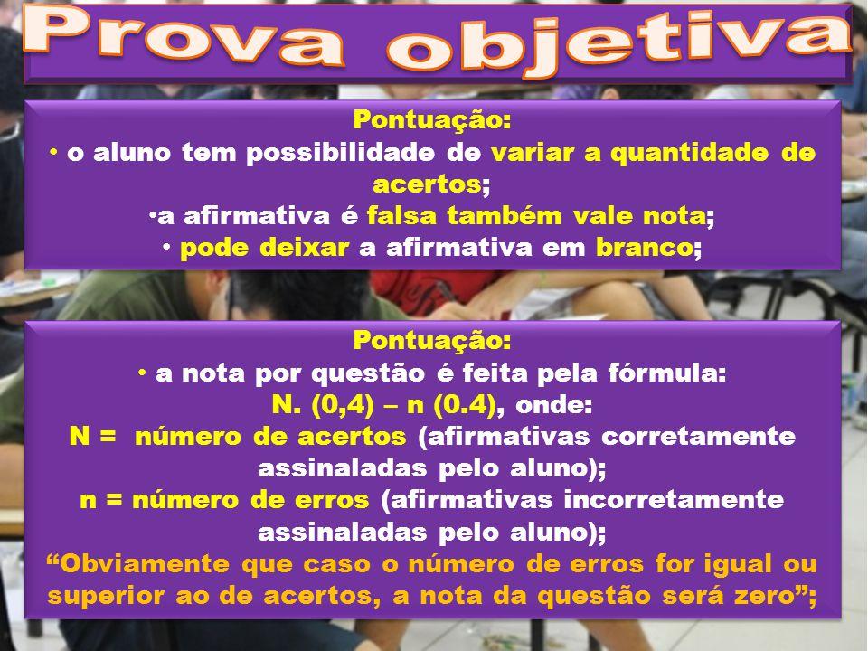Pontuação: o aluno tem possibilidade de variar a quantidade de acertos; a afirmativa é falsa também vale nota; pode deixar a afirmativa em branco; Pon