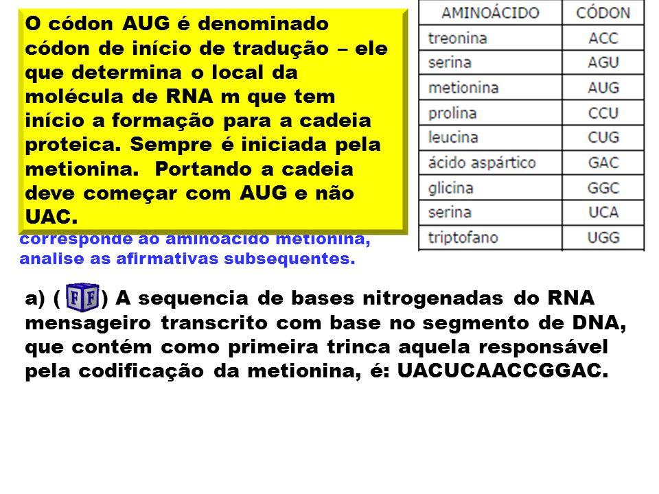 14. (EVANGÉLICA – 2009) --- A T G A G T T G G C C T C C T --- --- T A C T C A A C C G G A G G A --- A tabela a seguir apresenta alguns códons de RNA m