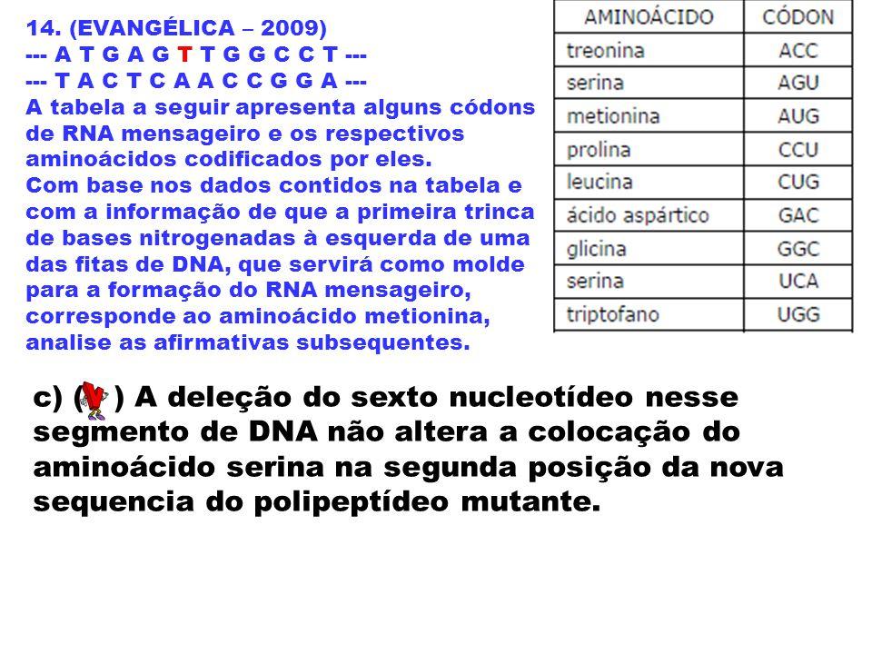 14. (EVANGÉLICA – 2009) --- A T G A G T T G G C C T --- --- T A C T C A A C C G G A --- A tabela a seguir apresenta alguns códons de RNA mensageiro e