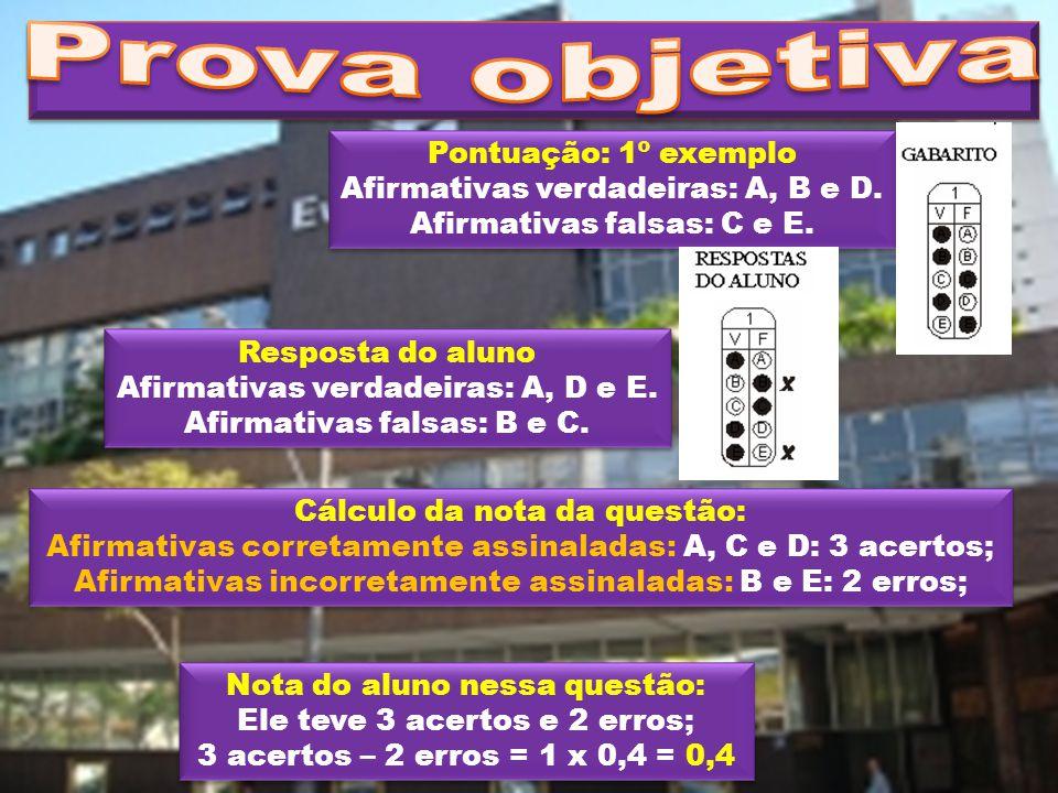 Pontuação: 1º exemplo Afirmativas verdadeiras: A, B e D. Afirmativas falsas: C e E. Pontuação: 1º exemplo Afirmativas verdadeiras: A, B e D. Afirmativ