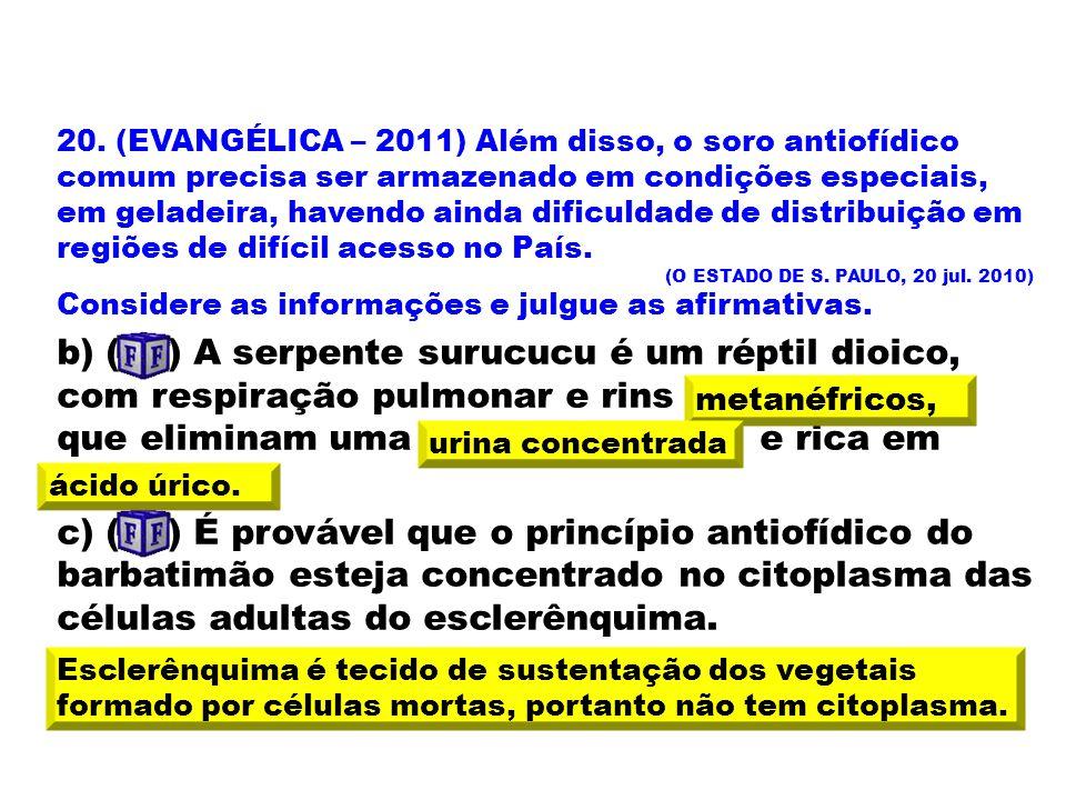 20. (EVANGÉLICA – 2011) Além disso, o soro antiofídico comum precisa ser armazenado em condições especiais, em geladeira, havendo ainda dificuldade de