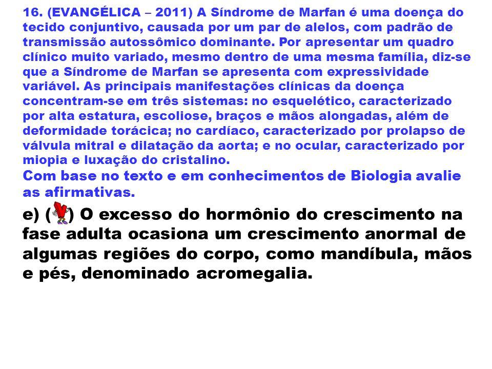 16. (EVANGÉLICA – 2011) A Síndrome de Marfan é uma doença do tecido conjuntivo, causada por um par de alelos, com padrão de transmissão autossômico do