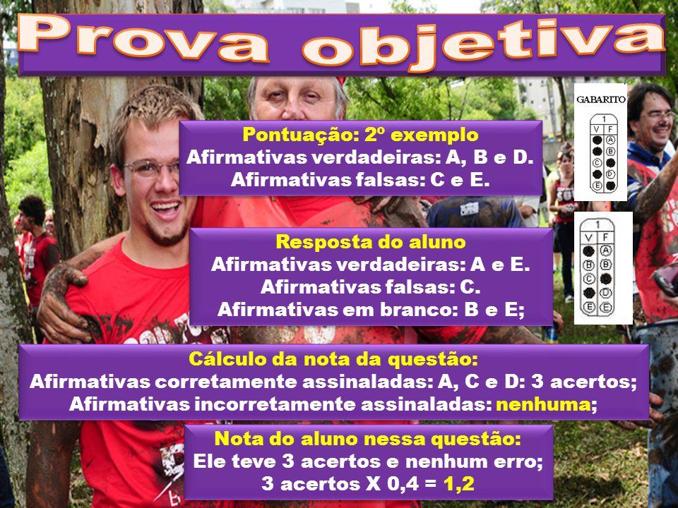 Pontuação: 2º exemplo Afirmativas verdadeiras: A, B e D. Afirmativas falsas: C e E. Pontuação: 2º exemplo Afirmativas verdadeiras: A, B e D. Afirmativ
