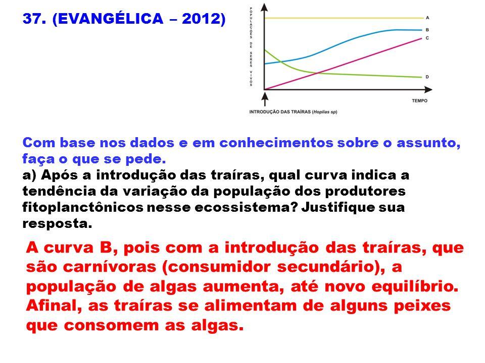 37. (EVANGÉLICA – 2012) Com base nos dados e em conhecimentos sobre o assunto, faça o que se pede. a) Após a introdução das traíras, qual curva indica
