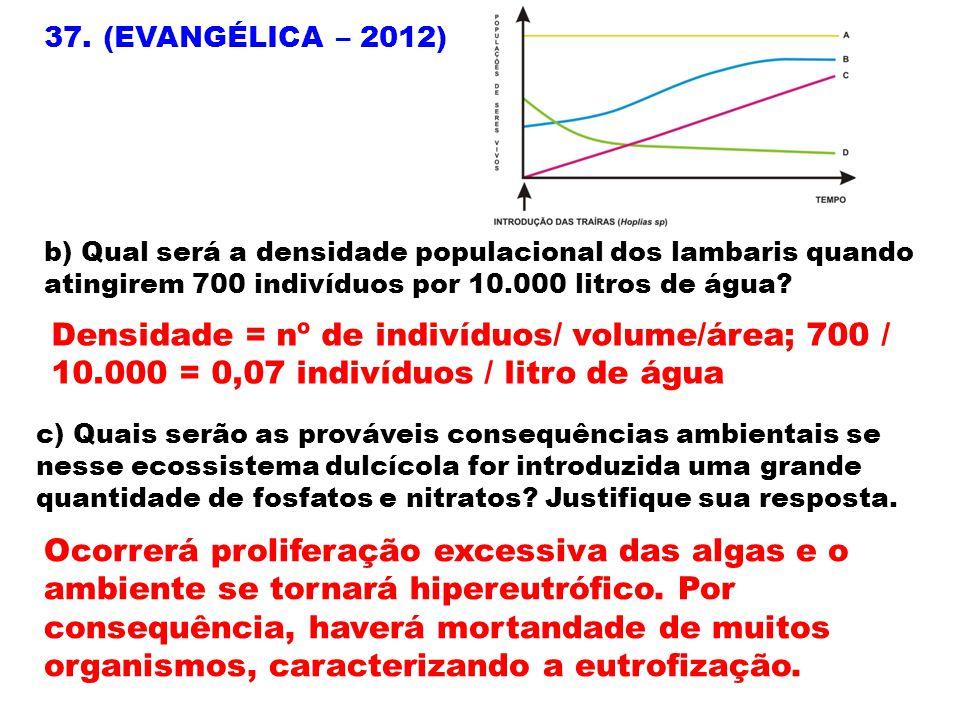 37. (EVANGÉLICA – 2012) b) Qual será a densidade populacional dos lambaris quando atingirem 700 indivíduos por 10.000 litros de água? Densidade = nº d
