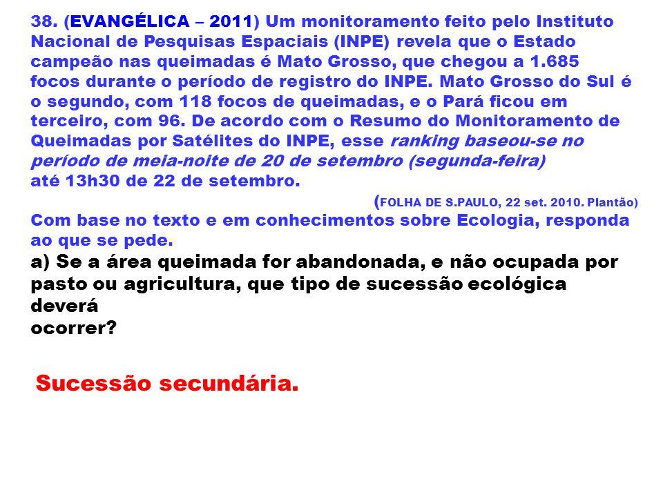 38. (EVANGÉLICA – 2011) Um monitoramento feito pelo Instituto Nacional de Pesquisas Espaciais (INPE) revela que o Estado campeão nas queimadas é Mato