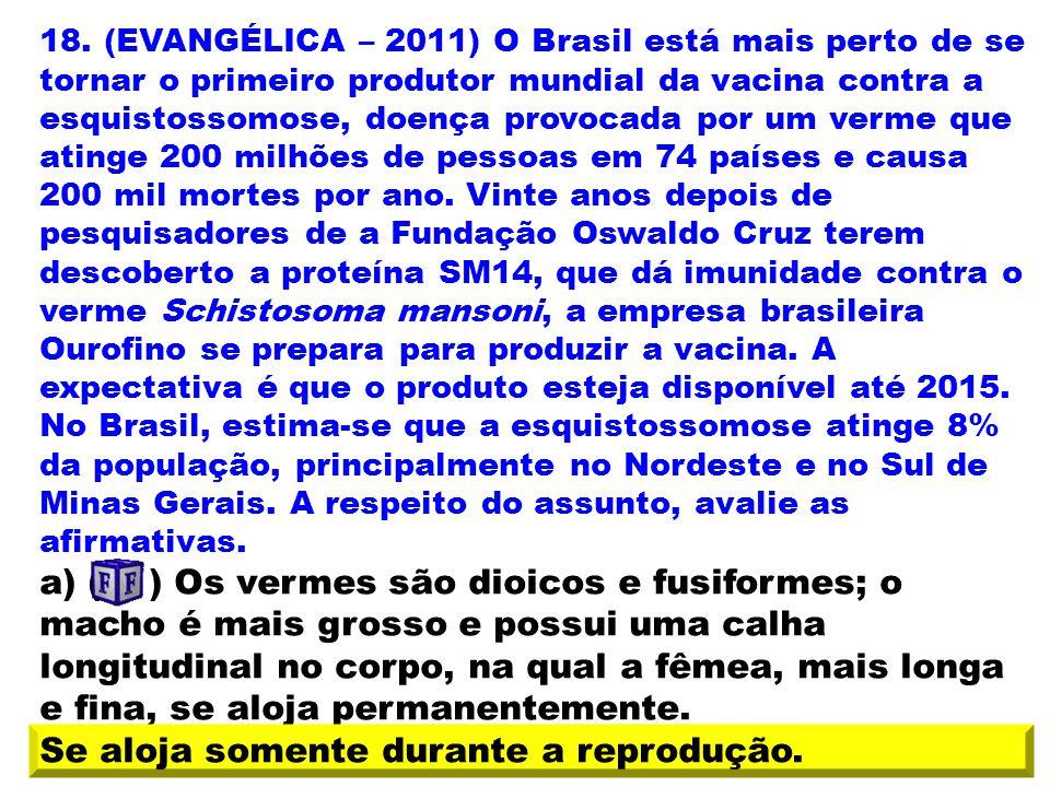 18. (EVANGÉLICA – 2011) O Brasil está mais perto de se tornar o primeiro produtor mundial da vacina contra a esquistossomose, doença provocada por um