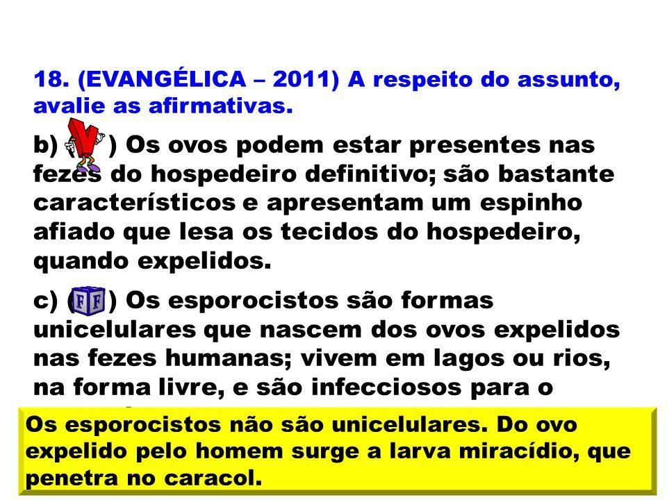 18. (EVANGÉLICA – 2011) A respeito do assunto, avalie as afirmativas. b) ( ) Os ovos podem estar presentes nas fezes do hospedeiro definitivo; são bas