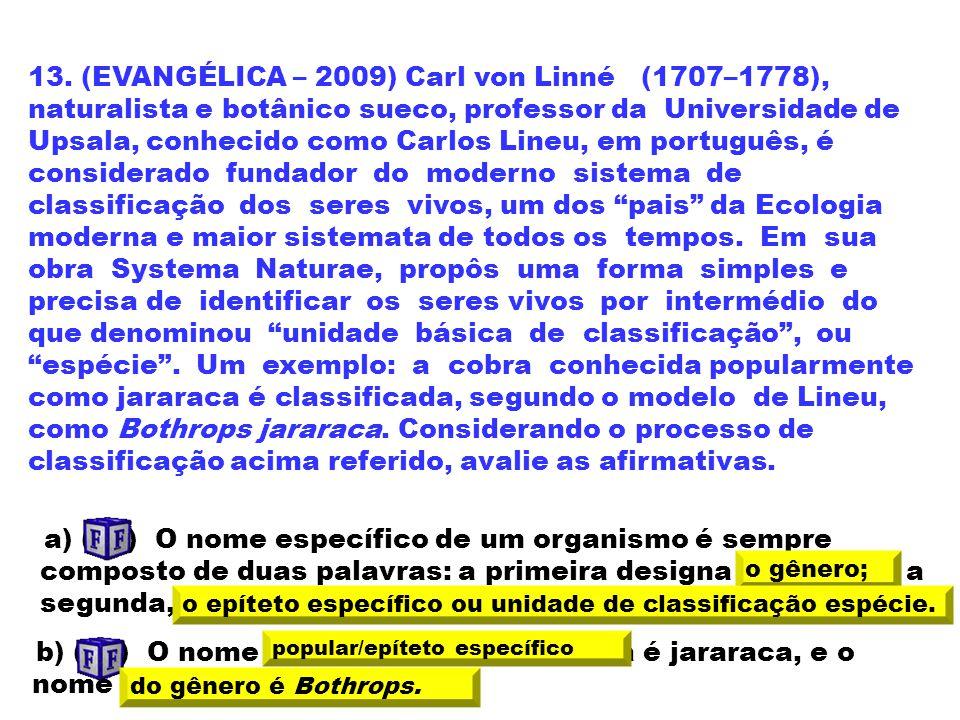 13. (EVANGÉLICA – 2009) Carl von Linné (1707–1778), naturalista e botânico sueco, professor da Universidade de Upsala, conhecido como Carlos Lineu, em