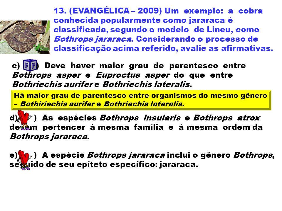 13. (EVANGÉLICA – 2009) Um exemplo: a cobra conhecida popularmente como jararaca é classificada, segundo o modelo de Lineu, como Bothrops jararaca. Co