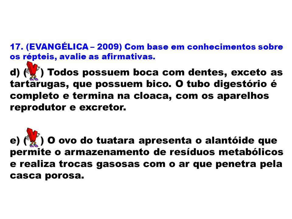 17. (EVANGÉLICA – 2009) Com base em conhecimentos sobre os répteis, avalie as afirmativas. d) ( ) Todos possuem boca com dentes, exceto as tartarugas,