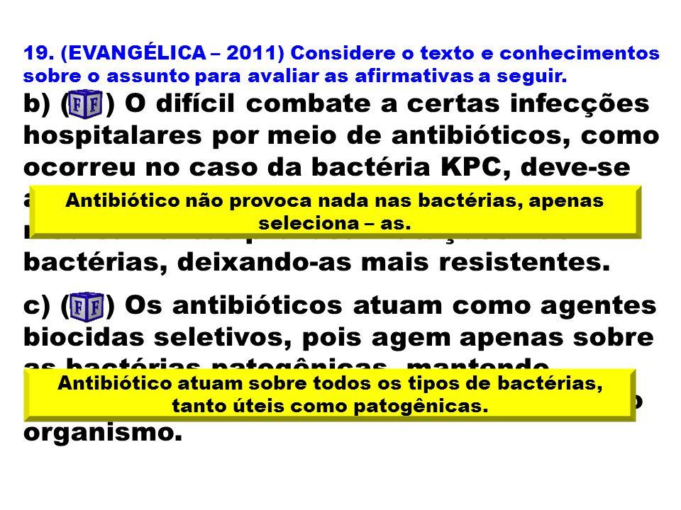 19. (EVANGÉLICA – 2011) Considere o texto e conhecimentos sobre o assunto para avaliar as afirmativas a seguir. b) ( ) O difícil combate a certas infe