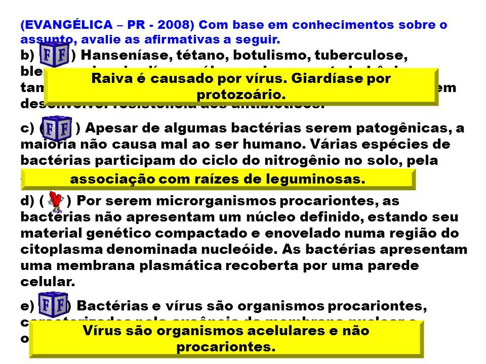 (EVANGÉLICA – PR - 2008) Com base em conhecimentos sobre o assunto, avalie as afirmativas a seguir. b) ( ) Hanseníase, tétano, botulismo, tuberculose,