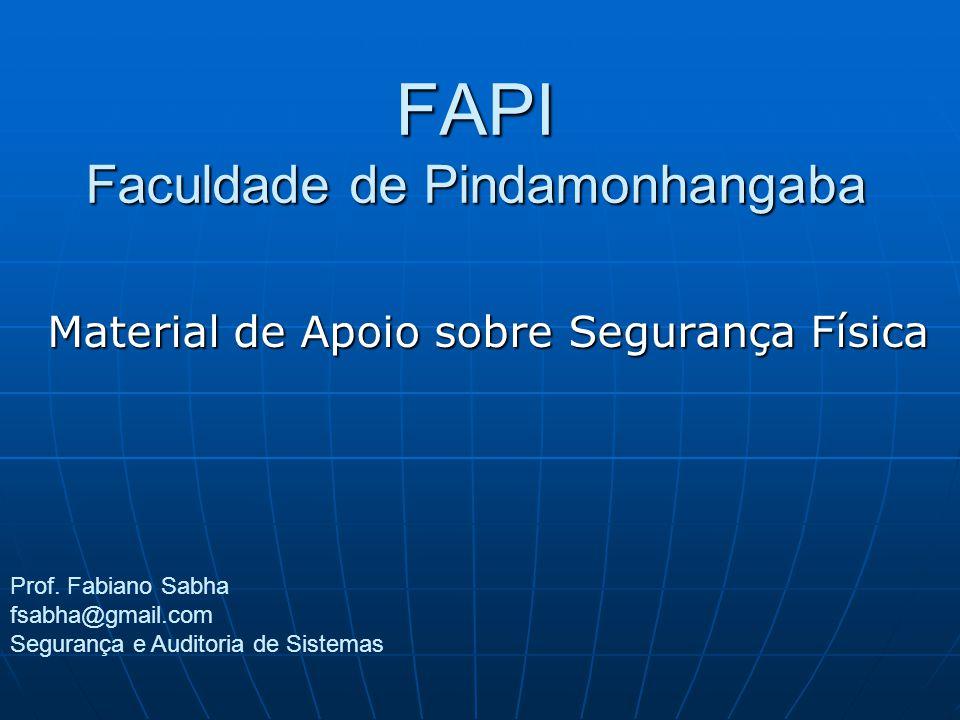 FAPI Faculdade de Pindamonhangaba Material de Apoio sobre Segurança Física Prof. Fabiano Sabha fsabha@gmail.com Segurança e Auditoria de Sistemas