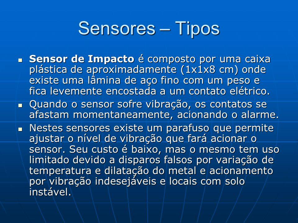 Sensores – Tipos Sensor de Impacto é composto por uma caixa plástica de aproximadamente (1x1x8 cm) onde existe uma lâmina de aço fino com um peso e fi
