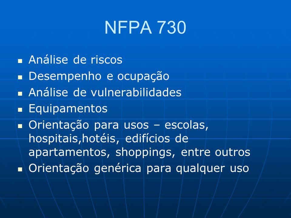 NFPA 730 Análise de riscos Desempenho e ocupação Análise de vulnerabilidades Equipamentos Orientação para usos – escolas, hospitais,hotéis, edifícios